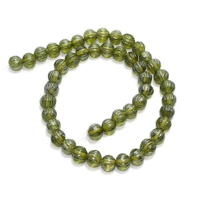 5 Strings Kharbooja Glass Beads Olive Green 10mm