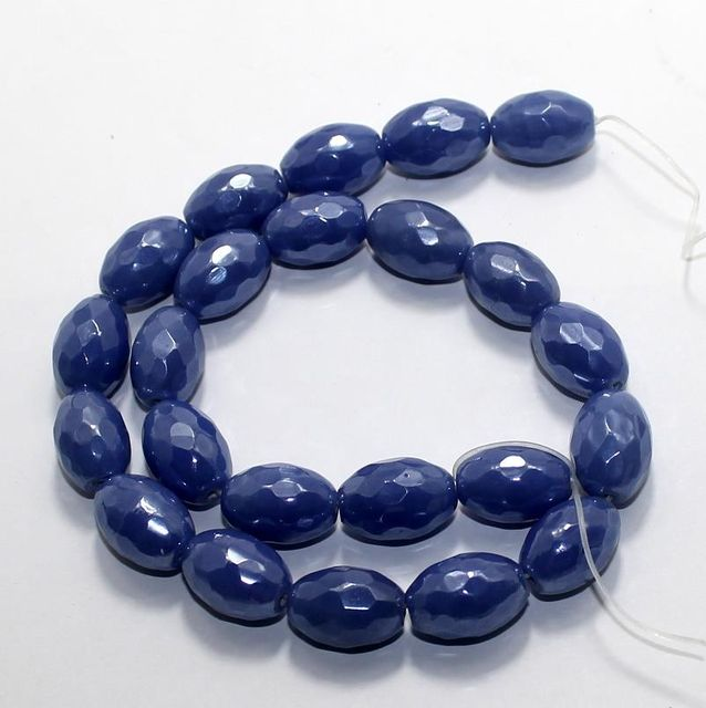 25 Faceted Fire Polish Oval Beads Blue 18x12mm