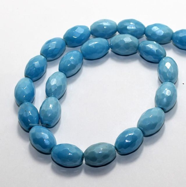 25 Faceted Fire Polish Oval Beads Turquoise 18x12mm