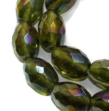 25+ Faceted Oval Beads Olive Green Rainbow 16x12mm