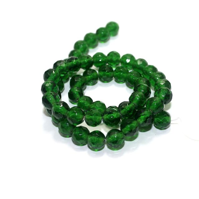 50+ Faceted Glass Round Beads Green 8mm