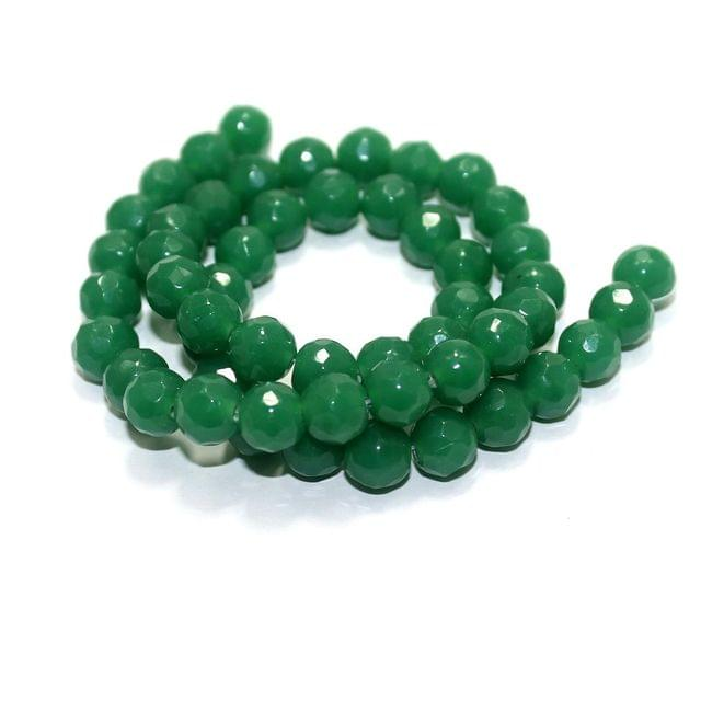50+ Faceted Glass Round Beads Opaque Green 8mm