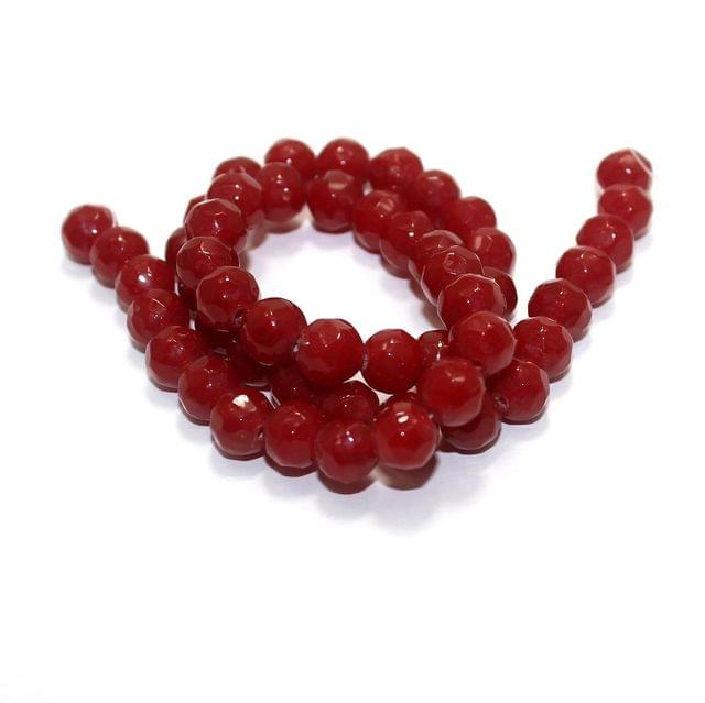 50+ Faceted Glass Round Beads Red 8mm