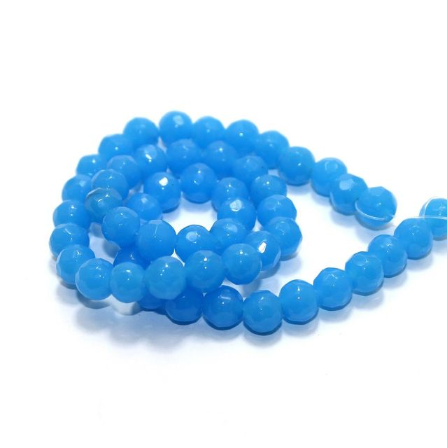 50+ Faceted Glass Round Beads Turquoise 8mm