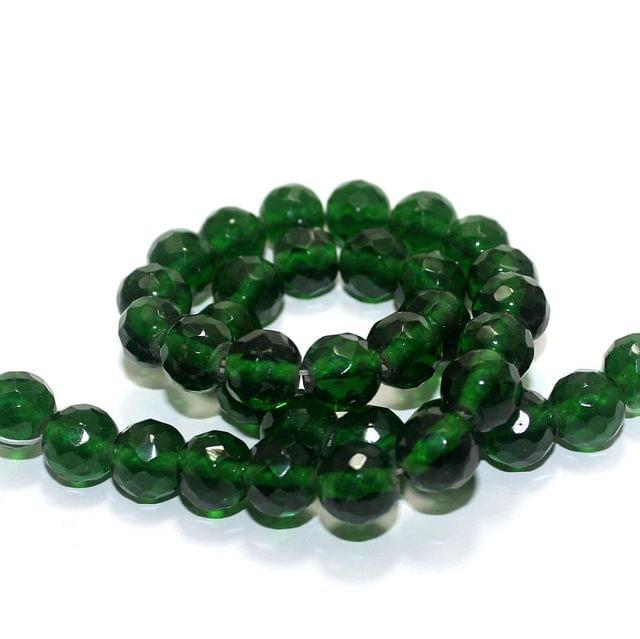 35+ Faceted Glass Round Beads Green 12mm