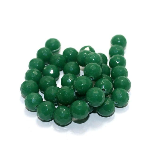 35+ Faceted Glass Round Beads Opaque Green 12mm