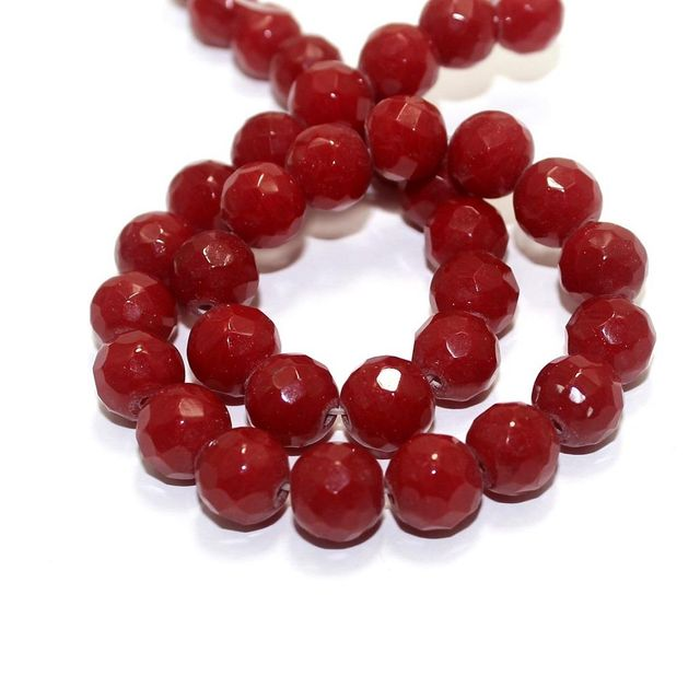 35+ Faceted Glass Round Beads Red 12mm