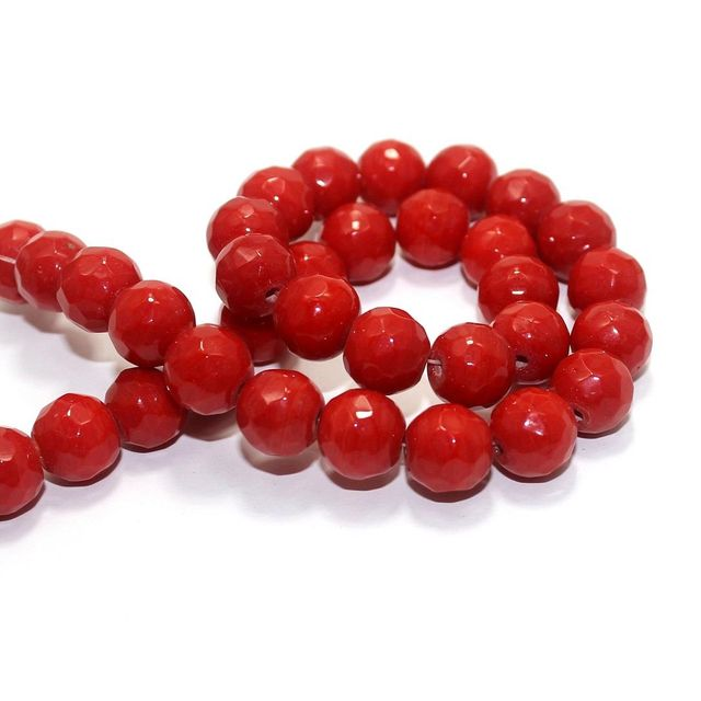 35+ Faceted Glass Round Beads Light Red 12mm
