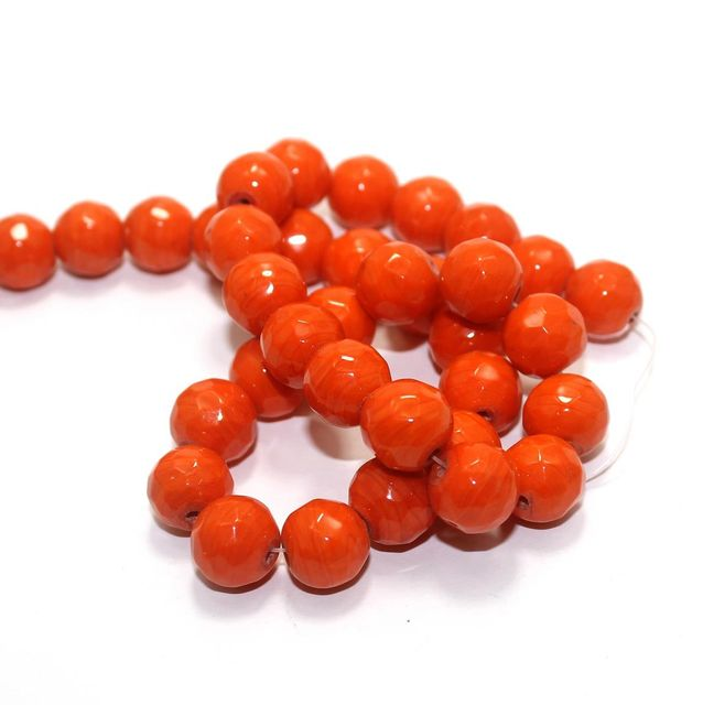 35+ Faceted Glass Round Beads Orange 12mm