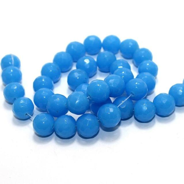 35+ Faceted Glass Round Beads Turquoise 12mm