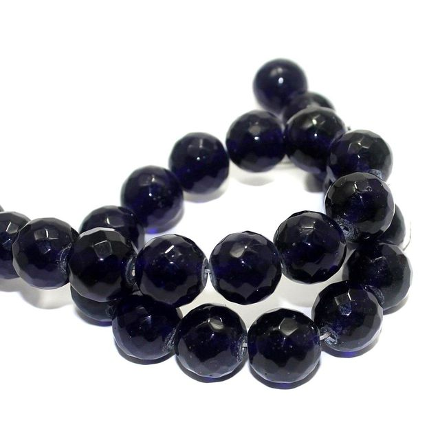 25+ Faceted Glass Round Beads Dark Blue 16mm