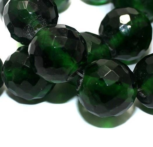 25+ Faceted Glass Round Beads Green 16mm