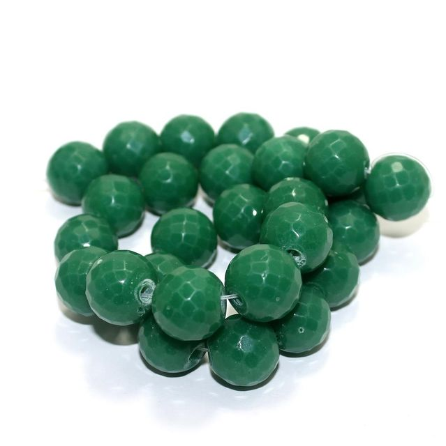 25+ Faceted Glass Round Beads Opaque Green 16mm