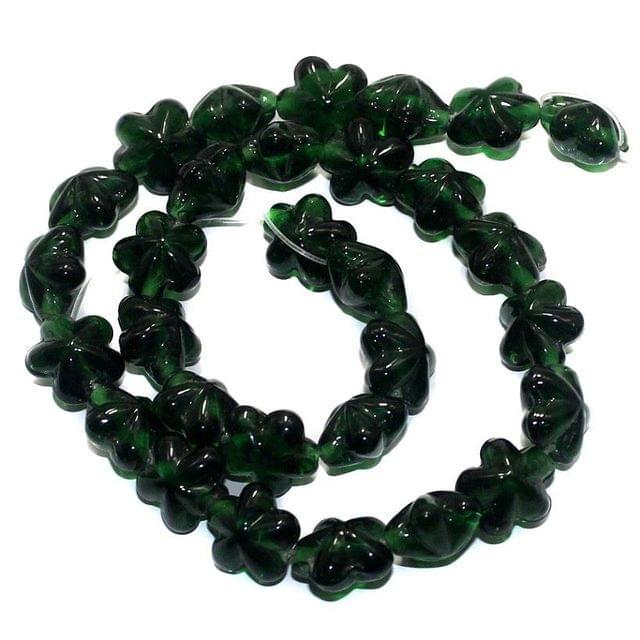 5 Strings Fire Polish Flower Beads Dark Green 14x9mm