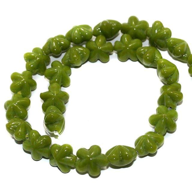 5 Strings Fire Polish Flower Beads Green 14x9mm