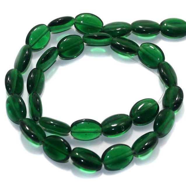5 Strings Fire Polish Flat Oval Beads Green 14x10mm