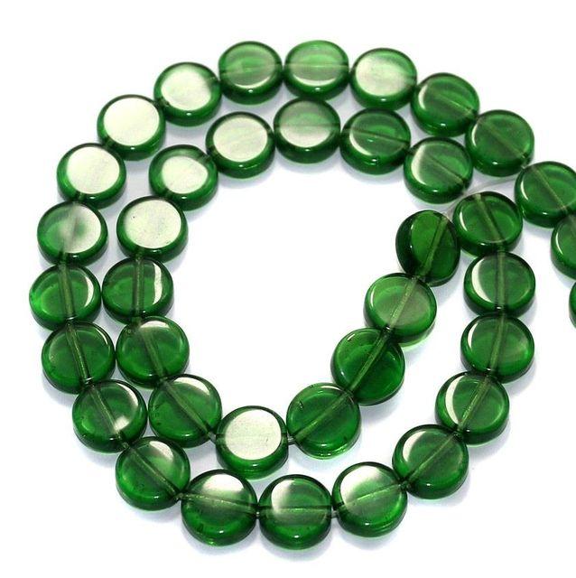5 Strings Fire Polish Disc Beads Green 10mm