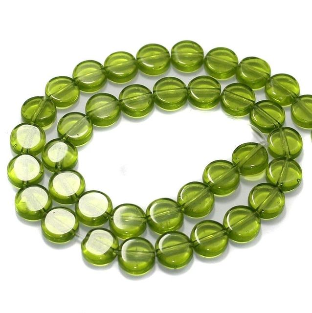 5 Strings Fire Polish Disc Beads Peridot 10mm