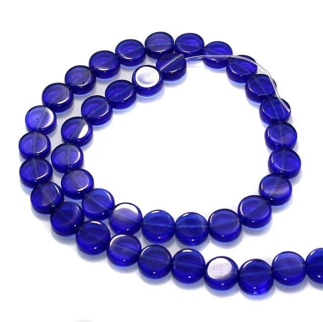 5 Strings Fire Polish Disc Beads Blue 10mm