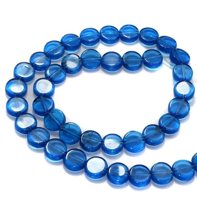 5 Strings Fire Polish Disc Beads Light Blue 10mm