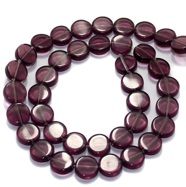 5 Strings Fire Polish Disc Beads Dark Purple 10mm