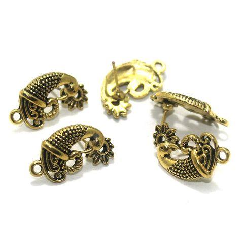 20 Pcs. German Silver Earring Components Golden 21x12 mm