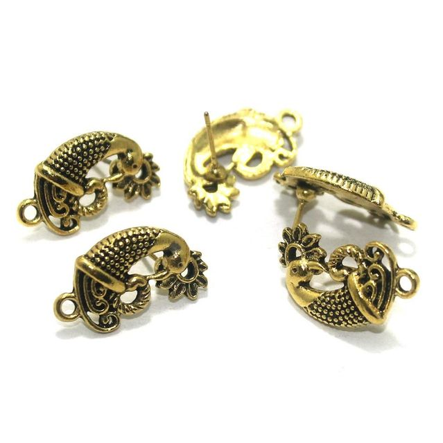 20 Pcs. German Silver Earring Components Golden 21x12 mm