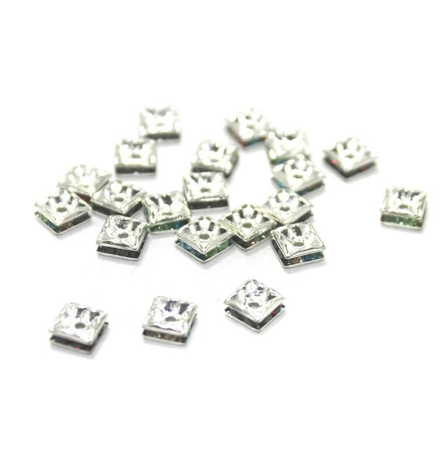 100 Pcs. Rhine Stone Flat Square Center Drill Beads Multi Color 5 mm