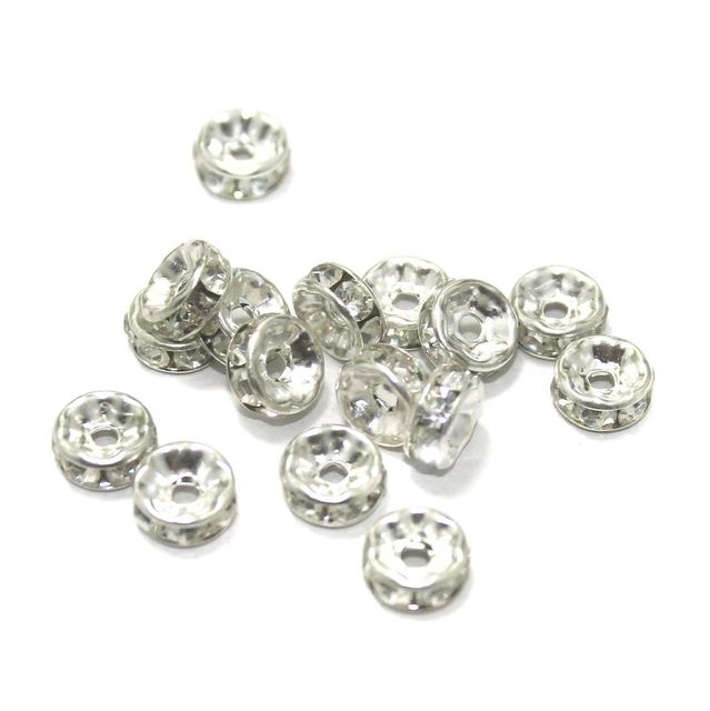 50 Pcs. Rhine Stone Disc Beads Silver 7 mm