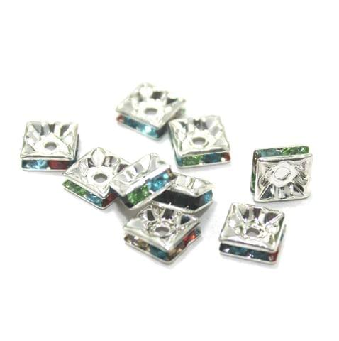 50 Pcs. Rhine Stone Flat Square Center Drill Beads Multi Color 8 mm