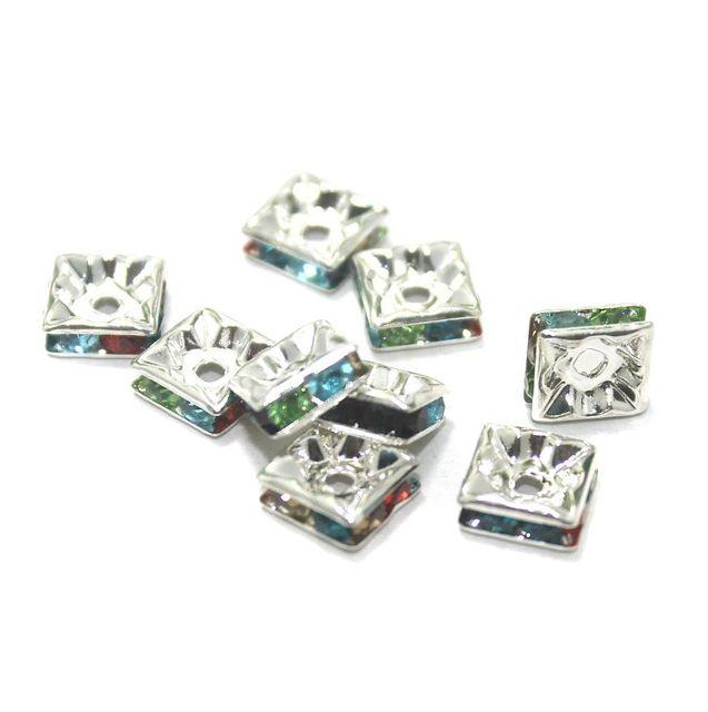 50 Pcs. Rhine Stone Flat Square Center Drill Beads Multi Color 8 mm