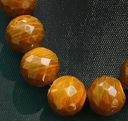 15+ Faceted Glass Round Beads Brown 16