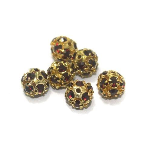 50 Pcs. Rhine Stone Round Beads Dark Red 8 mm