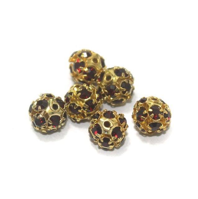 50 Pcs. Rhine Stone Round Beads Dark Red 8 mm