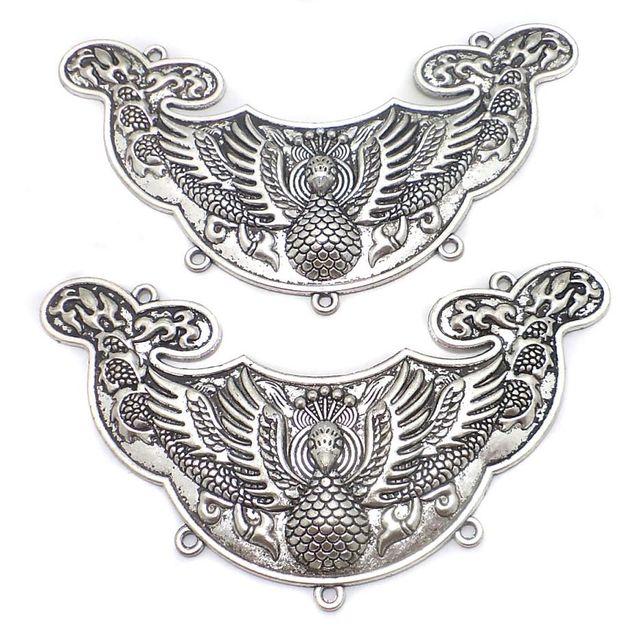 2 Pcs. German Silver Peacock Neck Collar 4.6x1.7 Inch