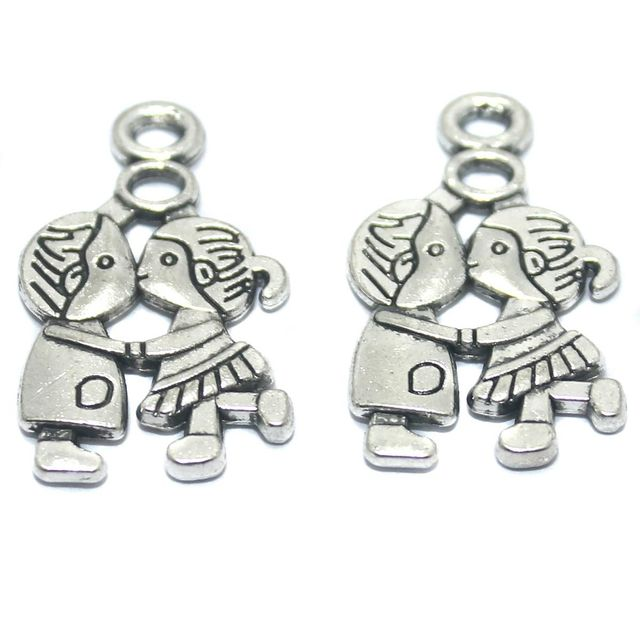 50 Pcs German Silver Pendant Charms 26x16mm
