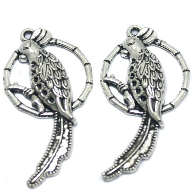 2 Pcs German Silver Parrot Pendant 44x22mm