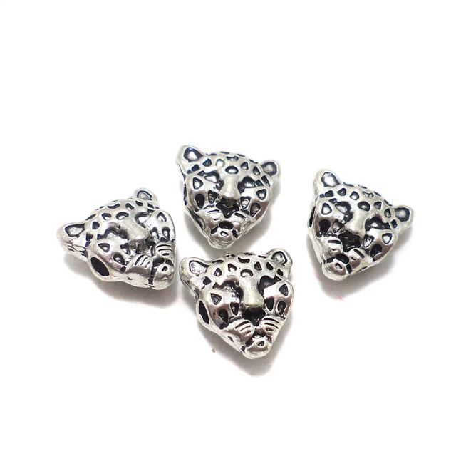 20 Pcs. German Silver Tiger Beads 11 mm