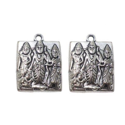 5 Pcs. German Silver Pendants 25x22 mm