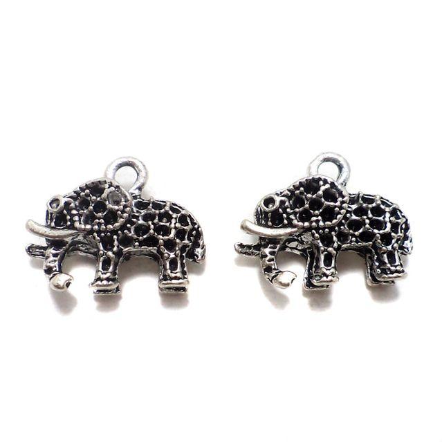 10 Pcs. German Silver Elephant Pendants Charms 19x12 mm