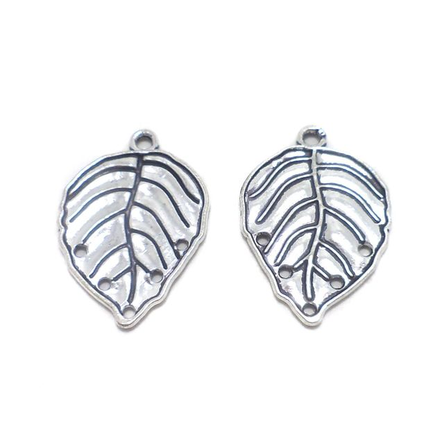 10 Pcs. German Silver Leaf Pendants Charms 30x20 mm