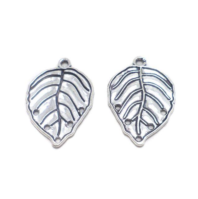 10 Pcs. German Silver Leaf Pendants Charms 30x20 mm
