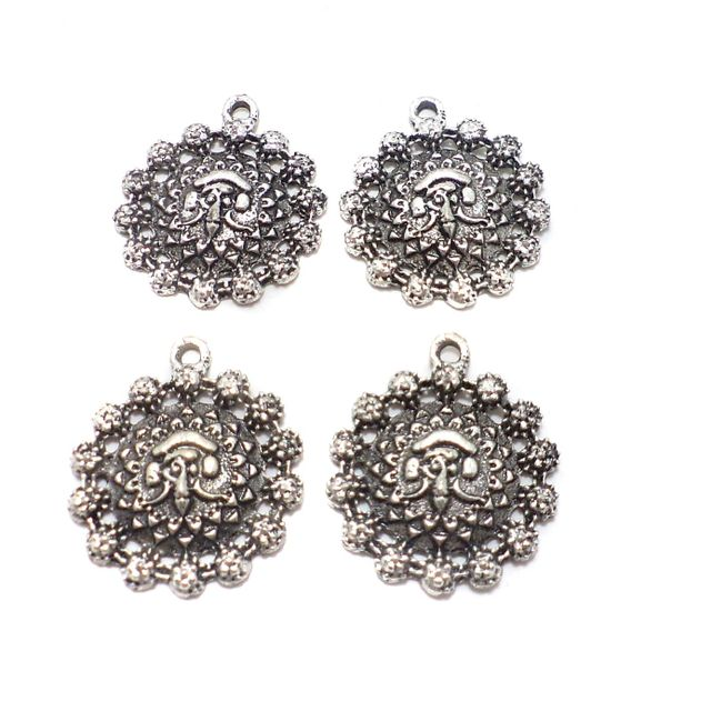 25 Pcs. German Silver Pendants Charms 24x22 mm