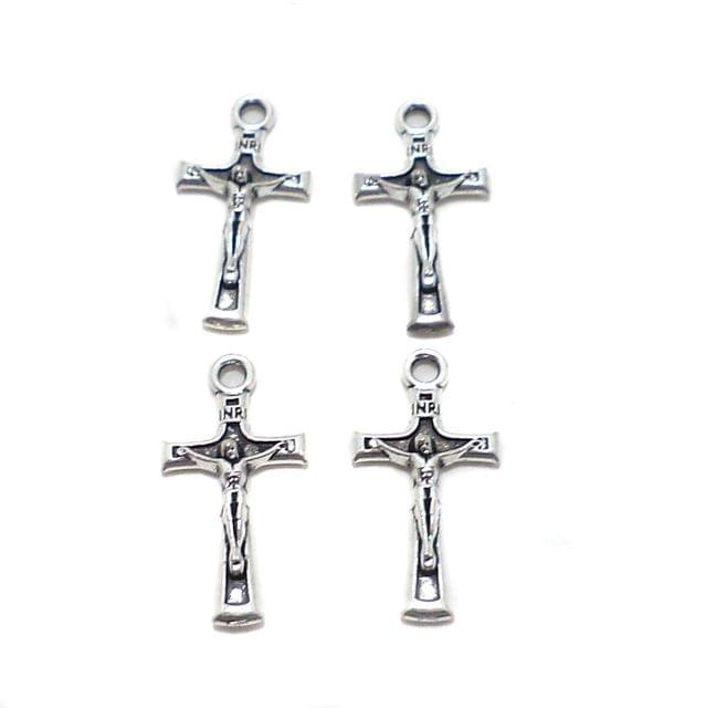 75 Pcs. German Silver Cross Pendants Charms 24x12 mm