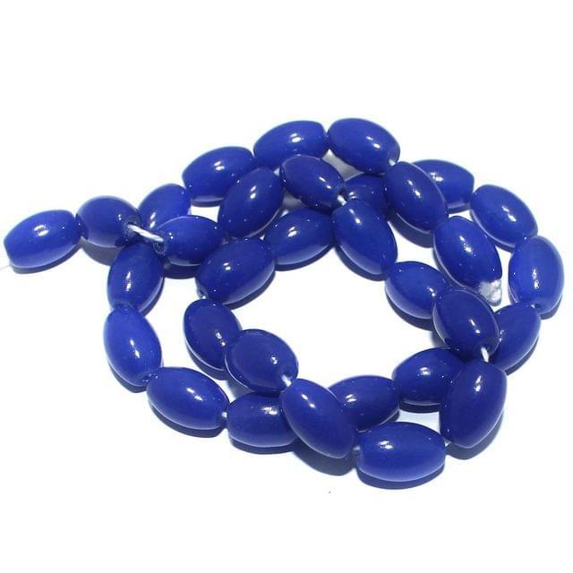 5 Strings of Jaipuri Oval Beads Blue 13x8mm