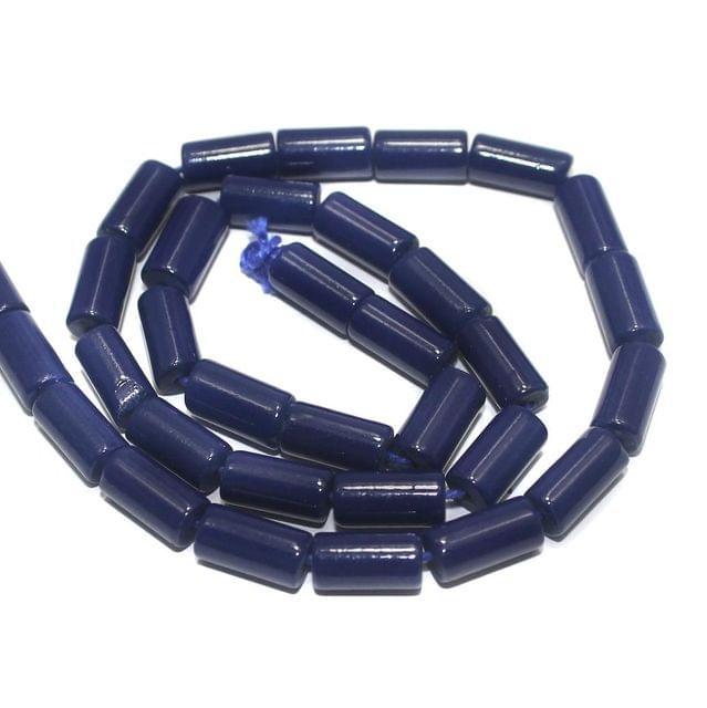 Jaipuri Beads Blue Tube 5 Strings 12x6mm