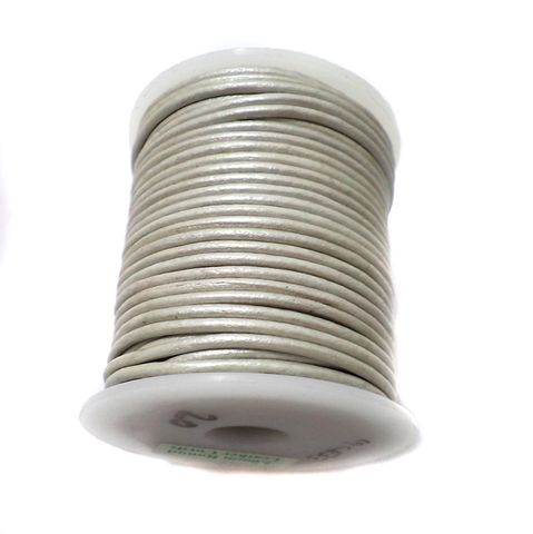 Leather Cord Silver For Jewellery Making, Size 2 mm, Pack of 25 mtr