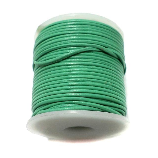 Leather Cord Green For Jewellery Making, Size 1 mm, Pack of 25 mtr