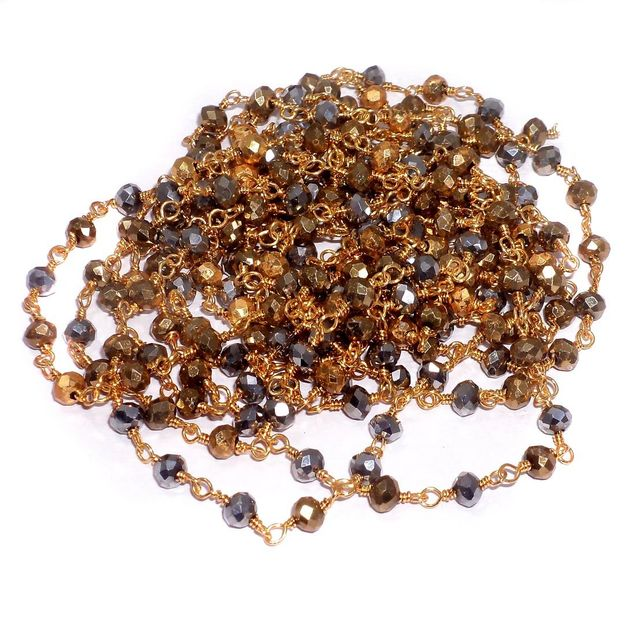 Crystal Beads Chain Black And Golden 2 Mtr