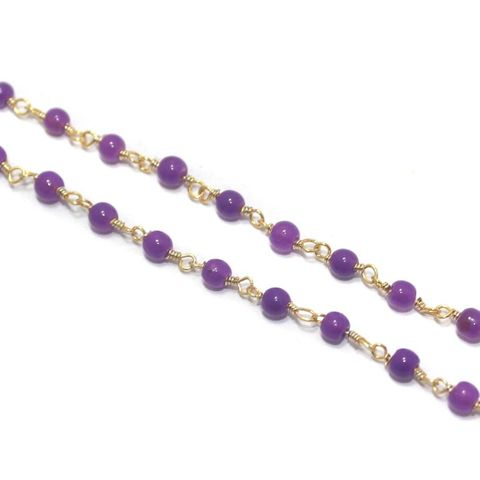 Jewellery Making Glass Beads Chain 3mm Purple, Pack Of 5 Mtrs